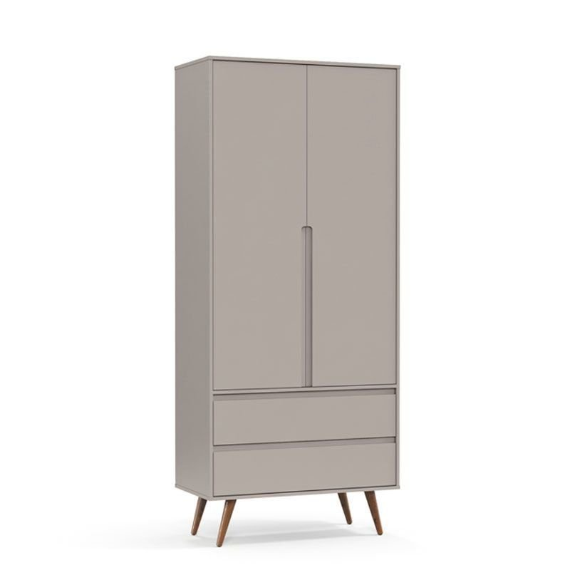 Guarda Roupa Retrô Clean 2 Portas Matic Cor Cinza Eco Wood