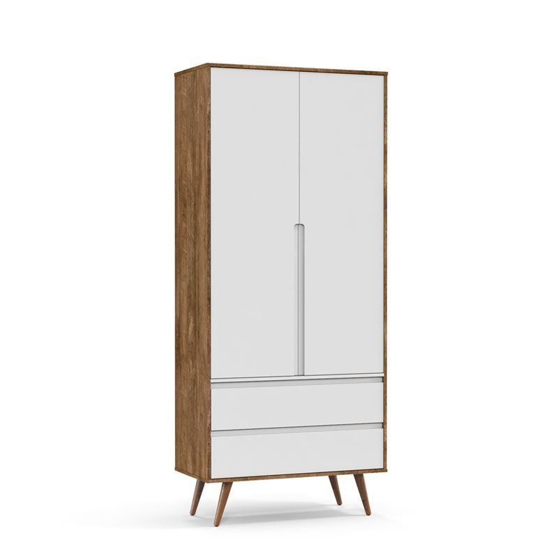 Guarda Roupa Retrô Clean 2 Portas Matic Cor Teka Eco Wood