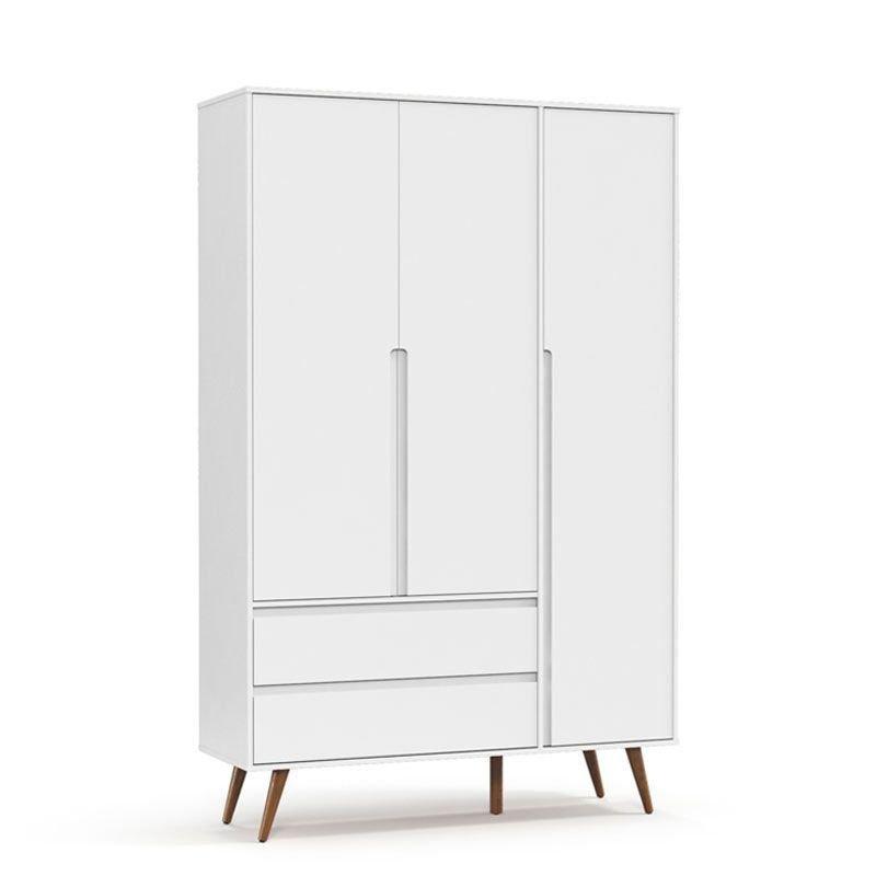 Guarda Roupa Retrô Clean 3 Portas Matic Cor Branco Soft Eco