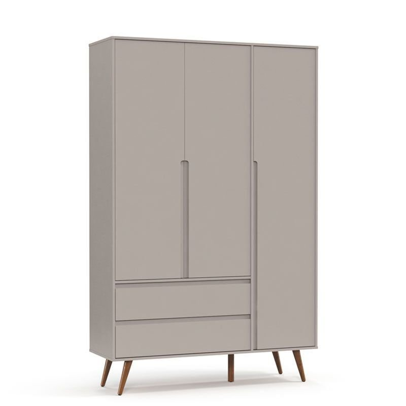 Guarda Roupa Retrô Clean 3 Portas Matic Cor Cinza Eco Wood