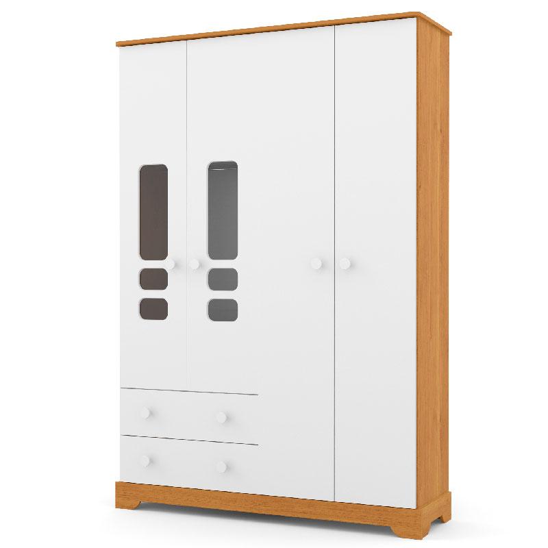 Guarda Roupa Smart 4 Portas Matic Cor Freijó/Branco Soft