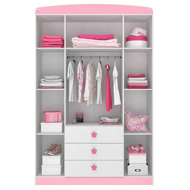 Guarda Roupa Infantil Barbie Star Branca Rosa - Pura Magia
