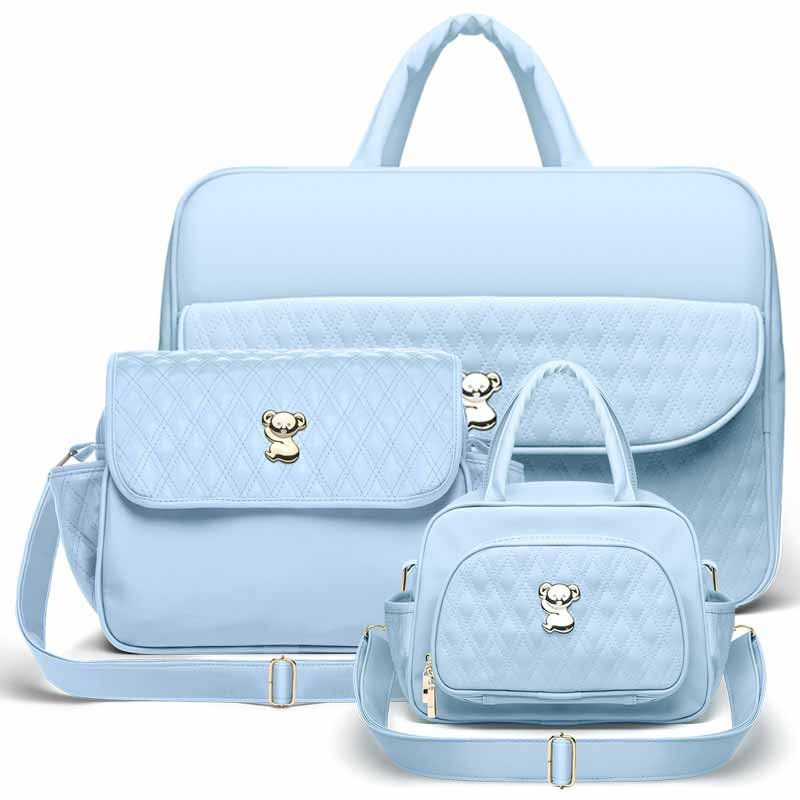 Kit 3 Bolsas Maternidade Classic For Baby Koala Cor Azul Bebê