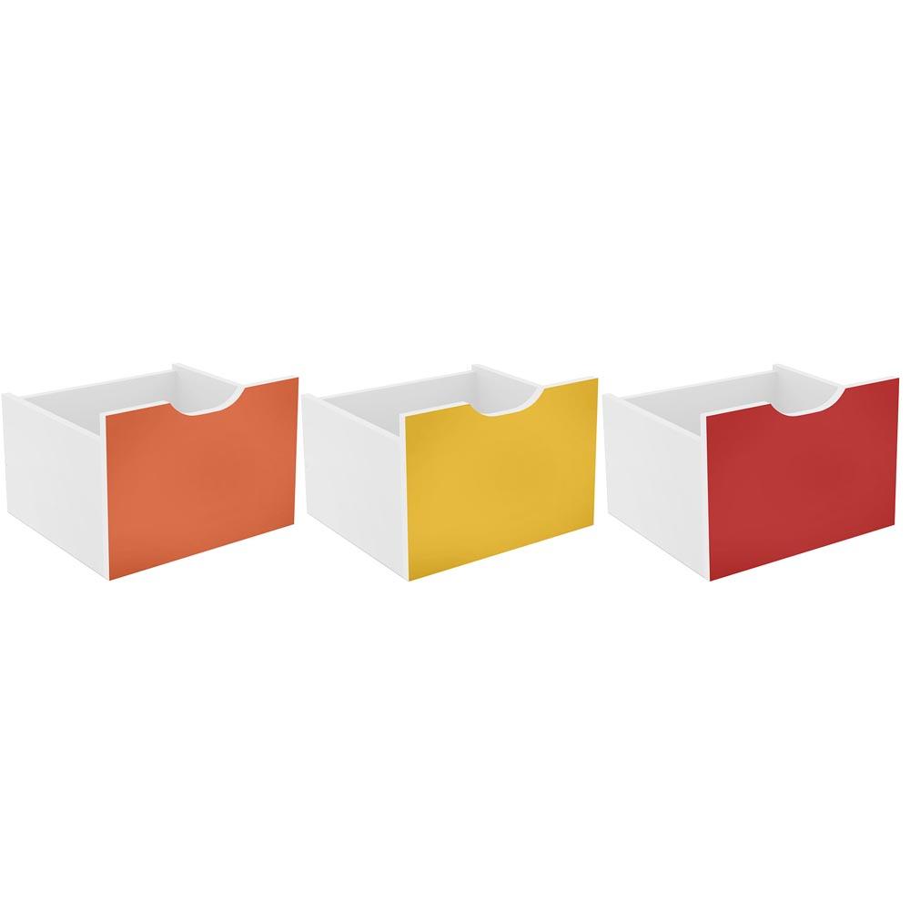 Kit 3 Gavetas Organizadoras Qmovi Coloridas