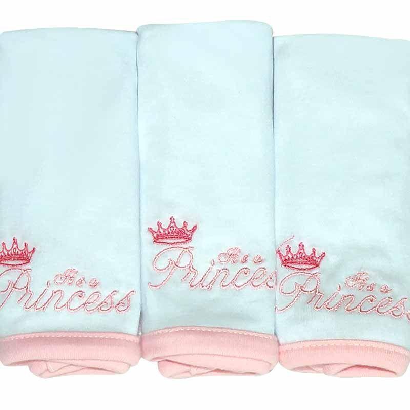 Kit com 3 fraldinhas de boca em malha Its a Girl Classic for Baby Cor Rosa
