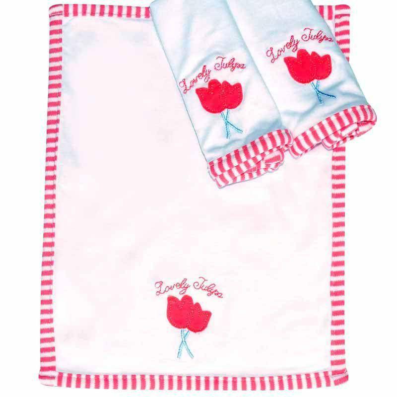 Kit com 3 fraldinhas de boca em malha Tulipa Classic for Baby Cor Vermelho