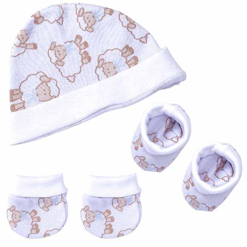 Kit Inverno para Bebê com touca, luva e sapatinho Algodão Doce Hug Baby Cor Azul