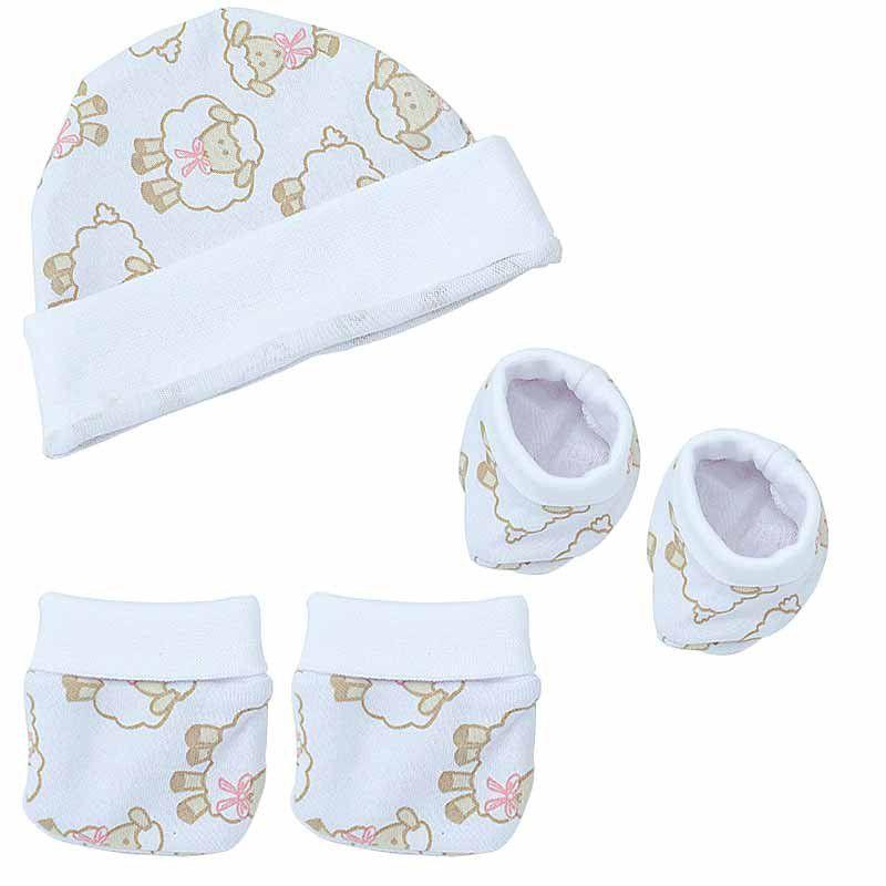 Kit Inverno para Bebê com touca, luva e sapatinho Algodão Doce Hug Baby Cor Rosa