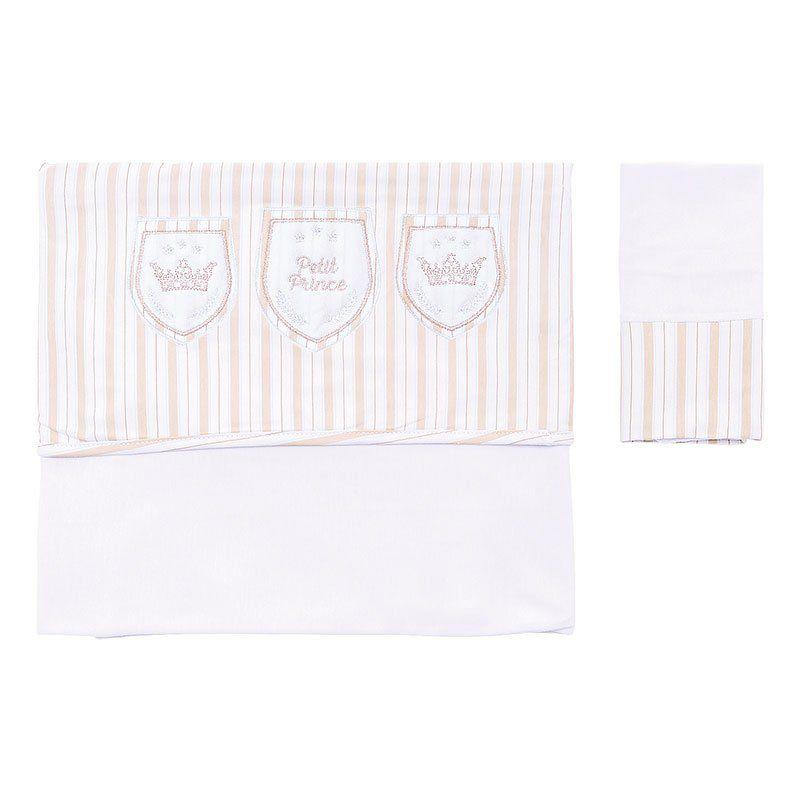 Lençol de Berço Kit 3 Peças Caça ao Tesouro Hug Baby Cor Bege