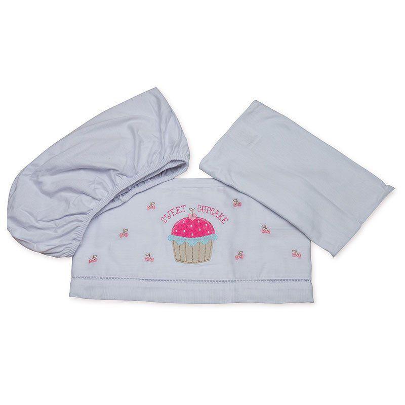 Lençol para Carrinho de Bebê Fustão Cupcake Classic for Baby Cor Rosa