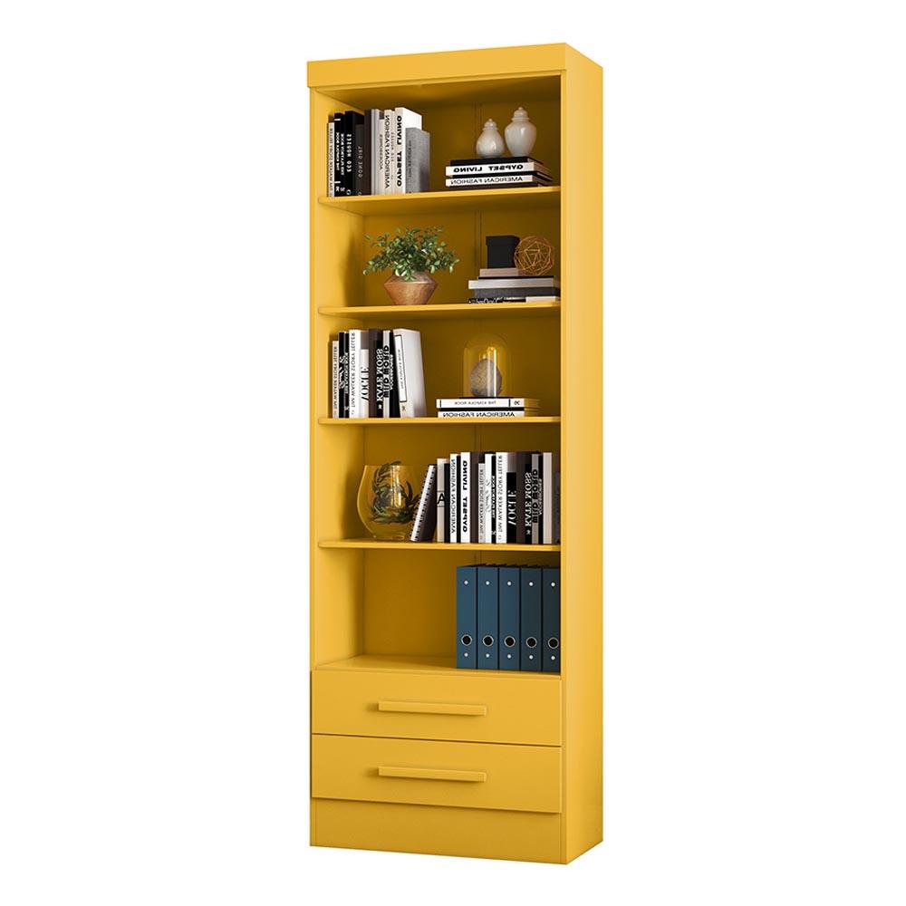 Livreiro com 2 Gavetas Qmovi Cor Amarelo
