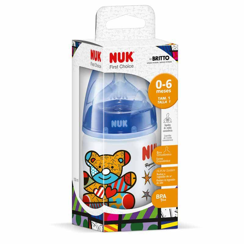 Mamadeira First Choice Romero Britto 150ml Nuk Cor Azul