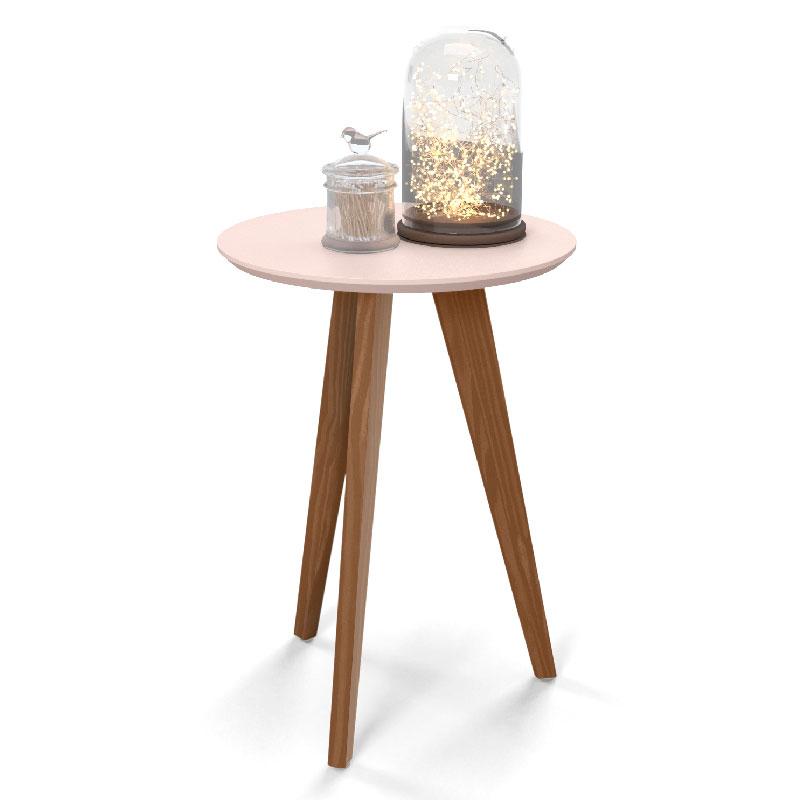 Mesa Lateral Liv Matic Cor Rosê/Eco Wood