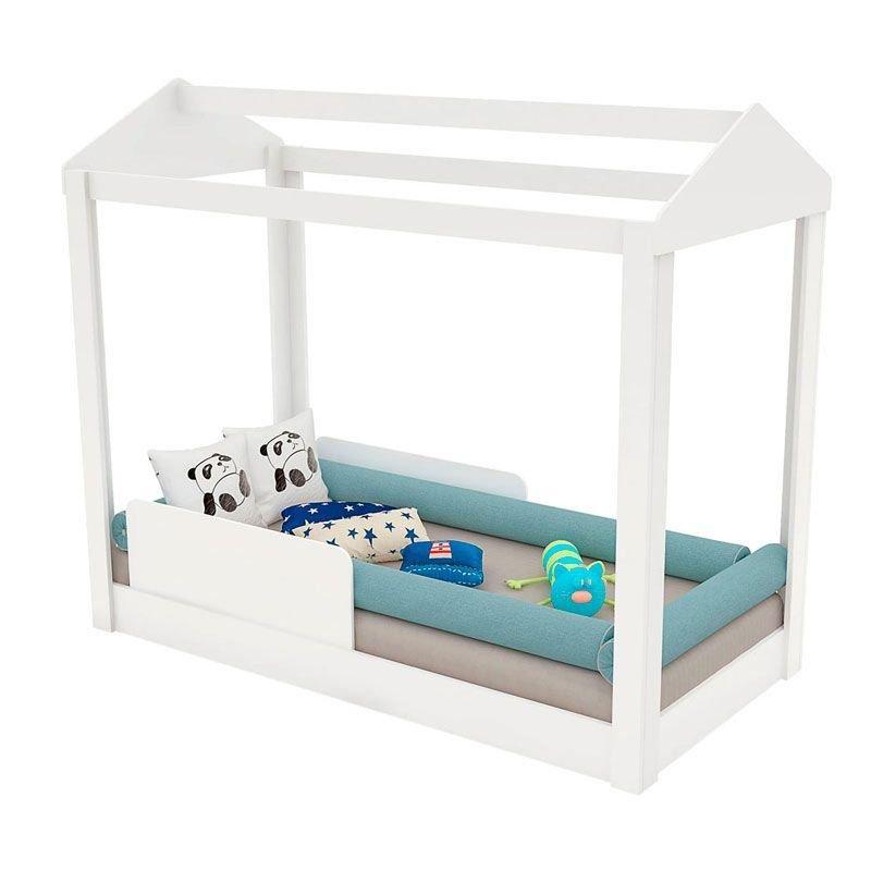 Mini Cama Infantil Montessoriana com Grade de Proteção Pura Magia Cor Branco