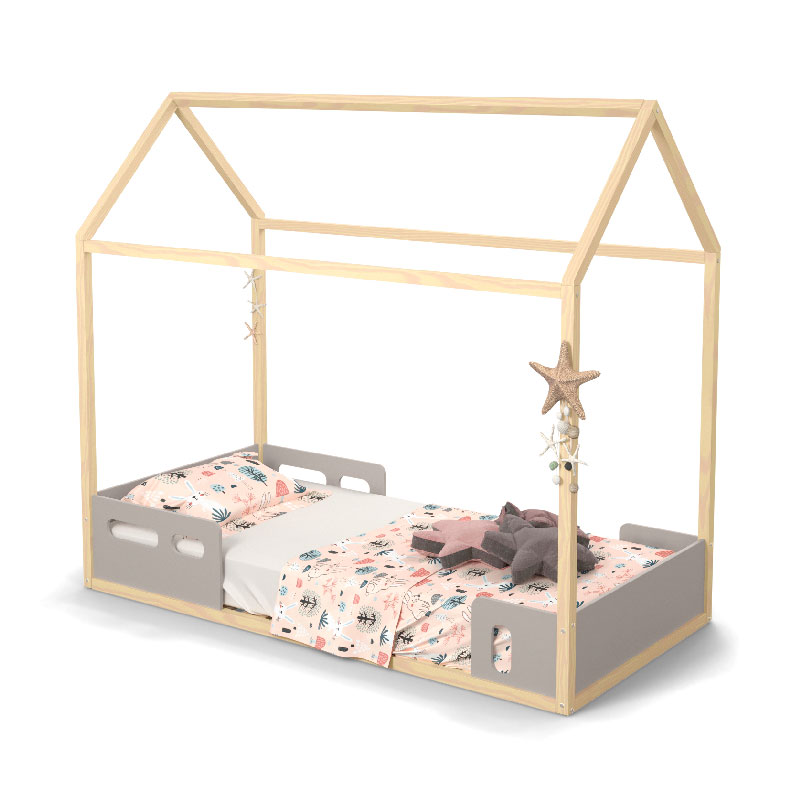 Mini Cama Liv Matic Cor Cinza/Natural