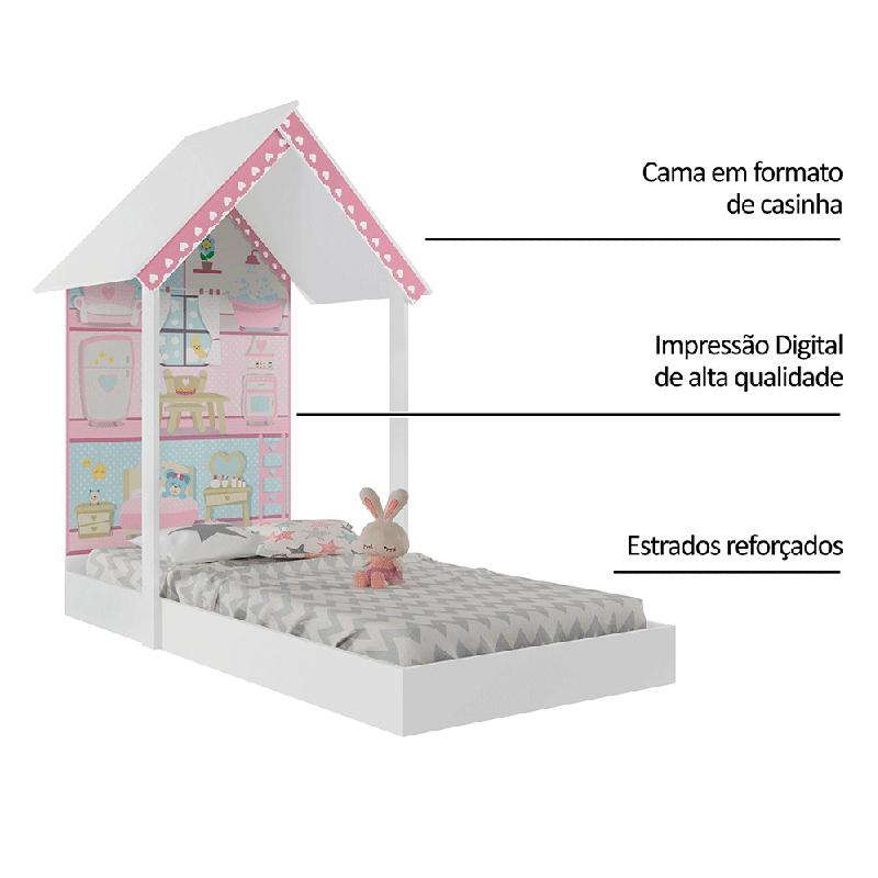 Mini Cama Montessoriana Casa de Boneca Móveis Estrela
