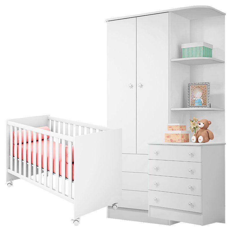 Quarto de Bebê Americano Doce Sonho com Cantoneira Qmovi Cor Branco Brilho