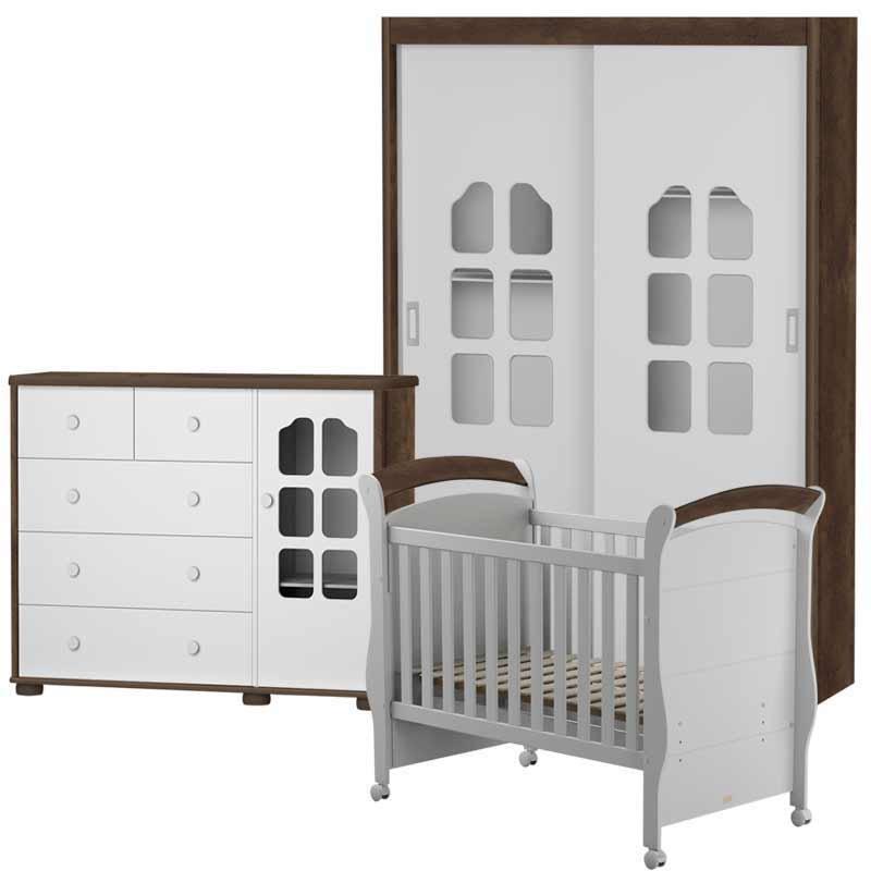 Quarto de Bebê Amore 2 Portas Matic Cor Branco Madeira