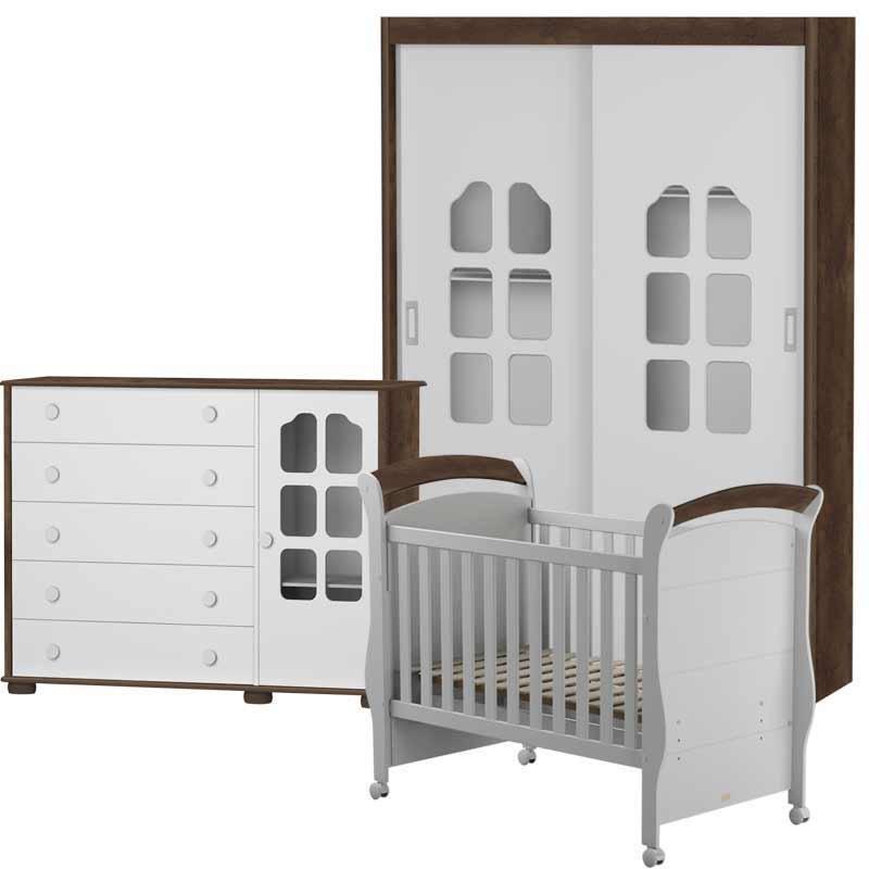 Quarto de Bebê Amore Slim 2 Portas Matic Cor Branco Madeira