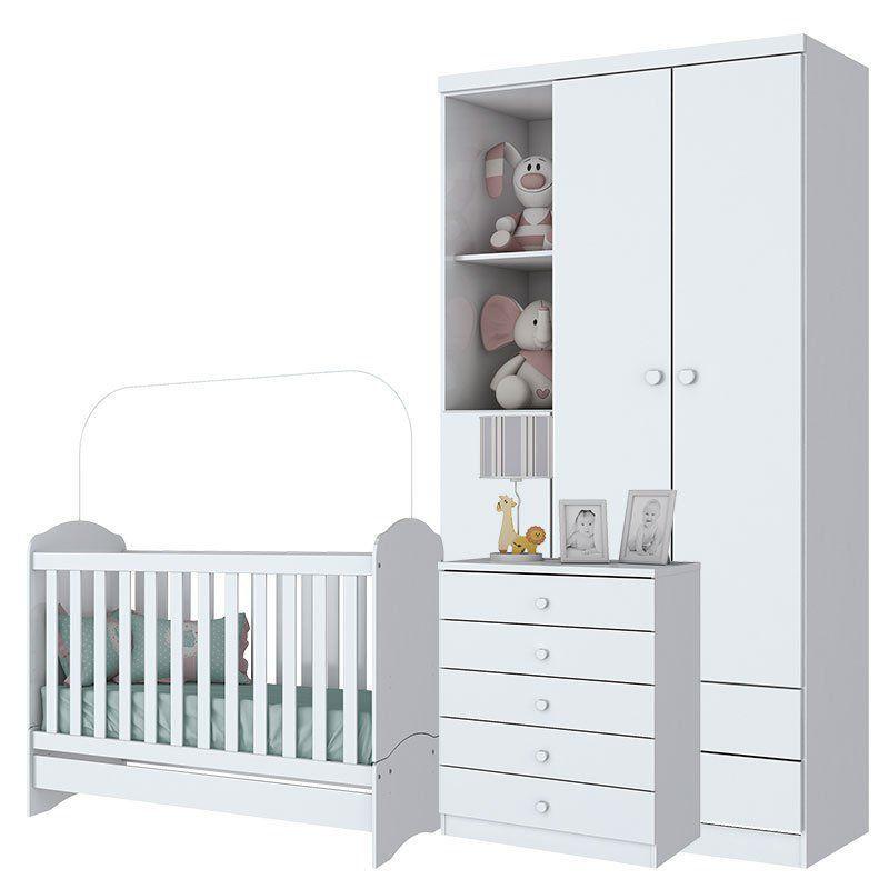 Quarto de Bebê Bala de Menta 3 Portas Henn Cor Branca Brilho