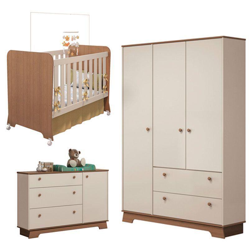 Quarto de Bebê Carícia 3 Portas Móveis Estrela Cor Off White Acetinado Amadeirado