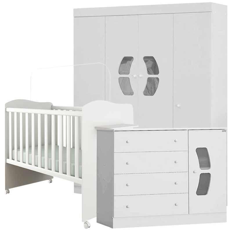 Quarto de Bebê Completo Belly 4 Portas Canaã Cor Branco