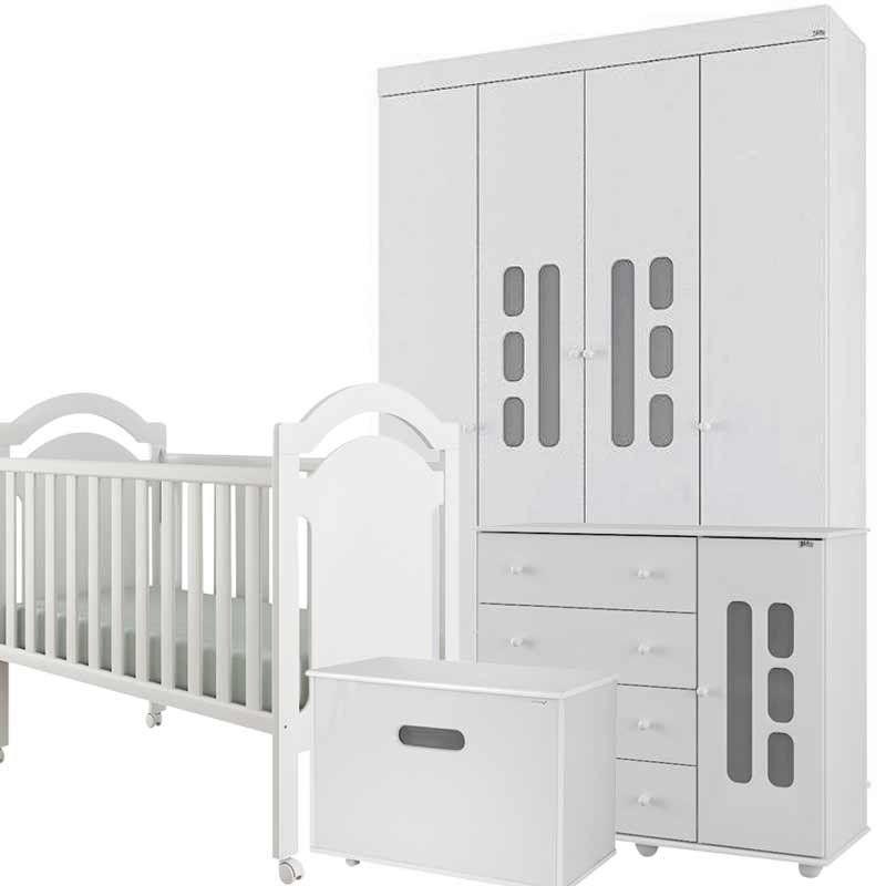Quarto de Bebê Completo Lívia 4 portas com Baú - Canaa