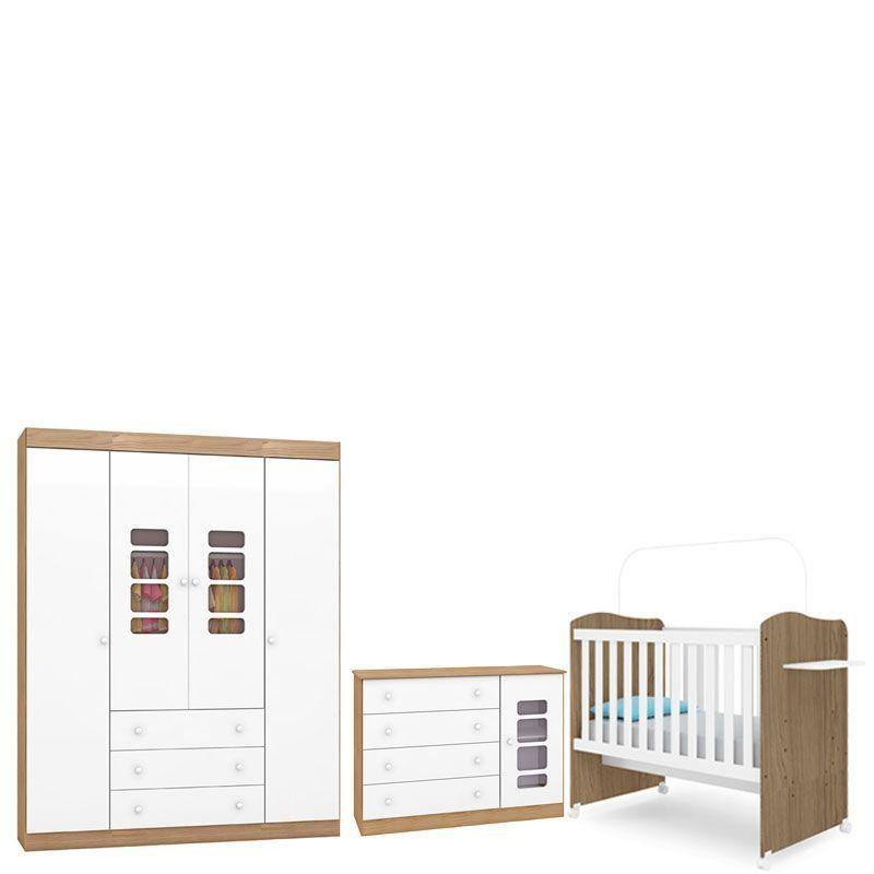 Quarto de Bebê Completo Lis 4 Portas Canaã Cor Wengue