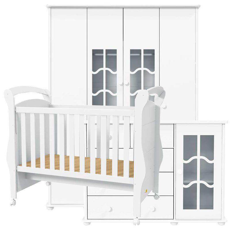 Quarto de Bebê Confort 4 Portas Matic Cor Branco Brilho