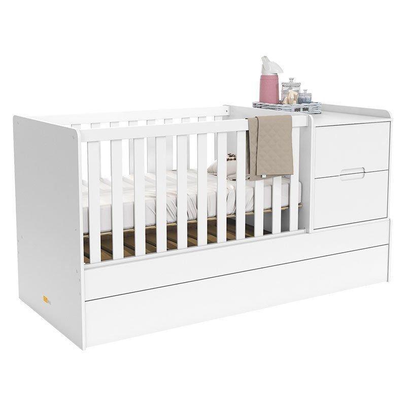Quarto de Bebê Crescer Smart New Matic Cor Branco Amadeirado