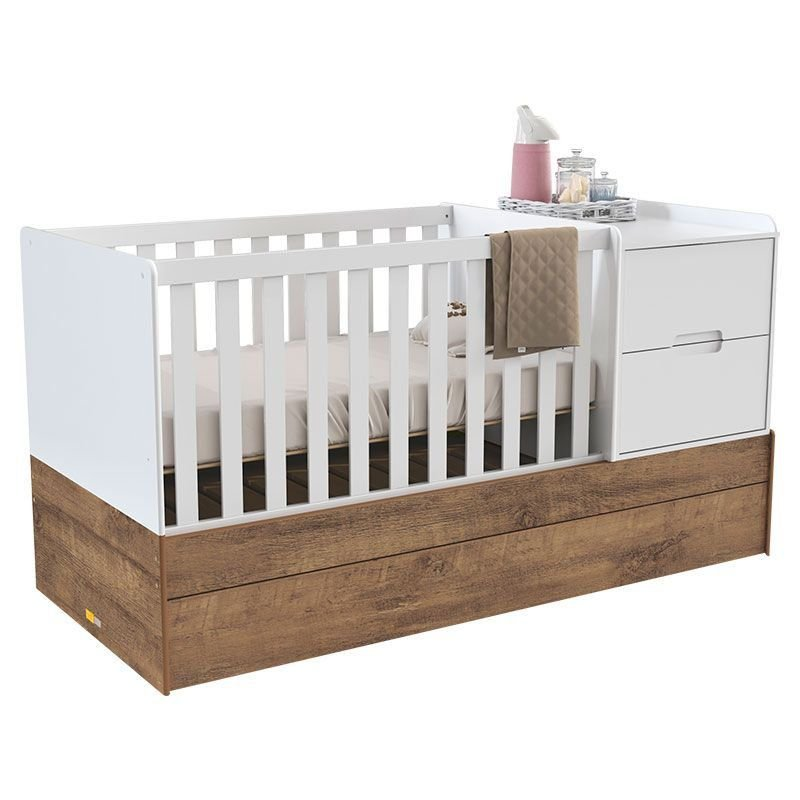 Quarto de Bebê Crescer Tutto New Matic Cor Branco Amadeirado