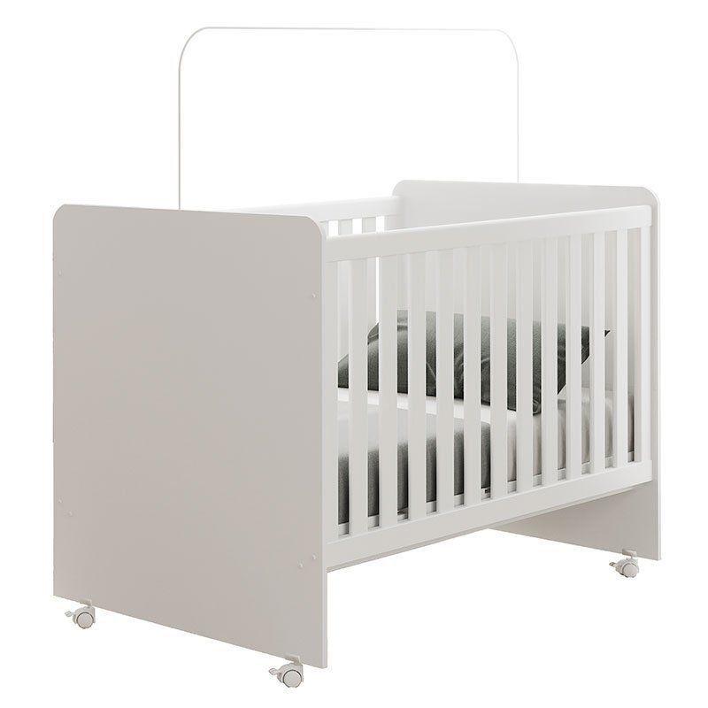 Quarto de Bebê Daniel com Berço Sonho Fiorello Cor Branco Brilho