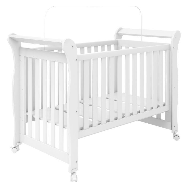 Quarto de Bebê Daniel com Berço Xodó Fiorello Cor Branco Brilho