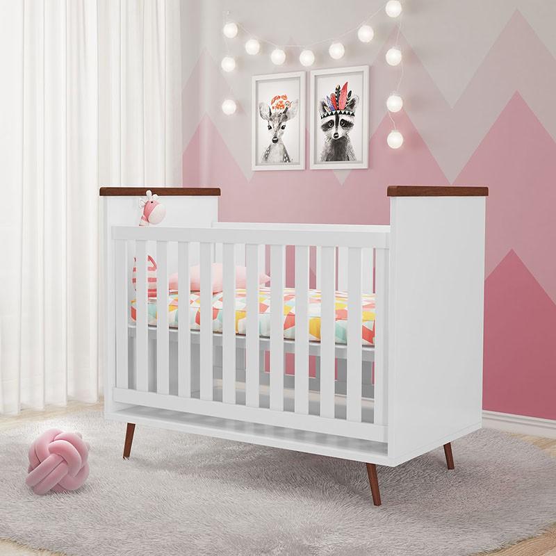 Quarto de Bebê Diamante com Colchão Phoenix Branco Amadeirado