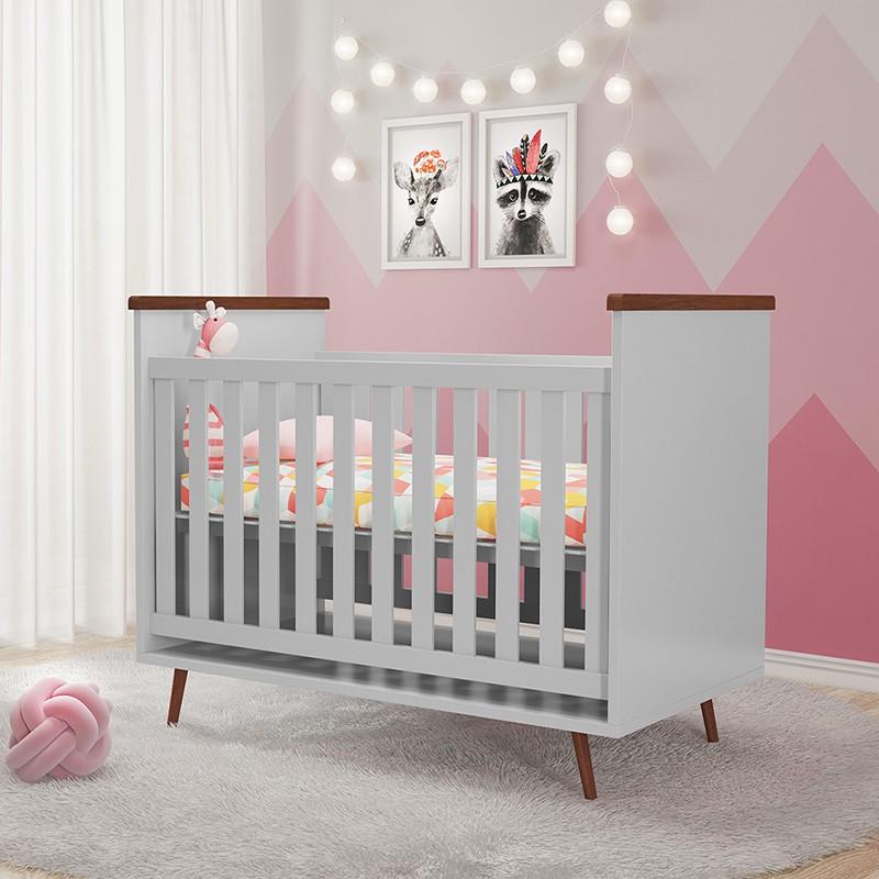 Quarto de Bebê Diamante com Colchão Phoenix Cinza Amadeirado
