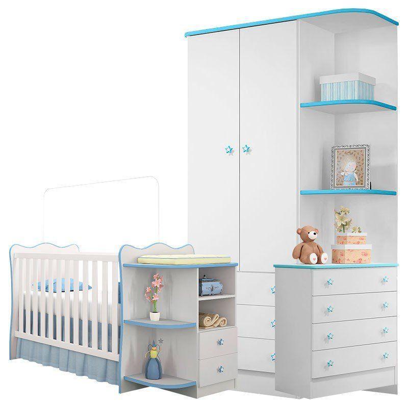 Quarto de Bebê Doce Sonho com Cantoneira Qmovi Cor Branca Azul