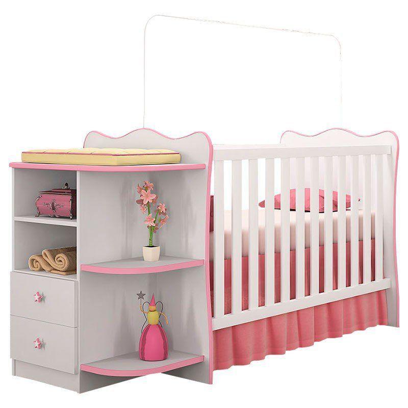 Quarto de Bebê Doce Sonho com Cantoneira Qmovi Cor Branca Rosa