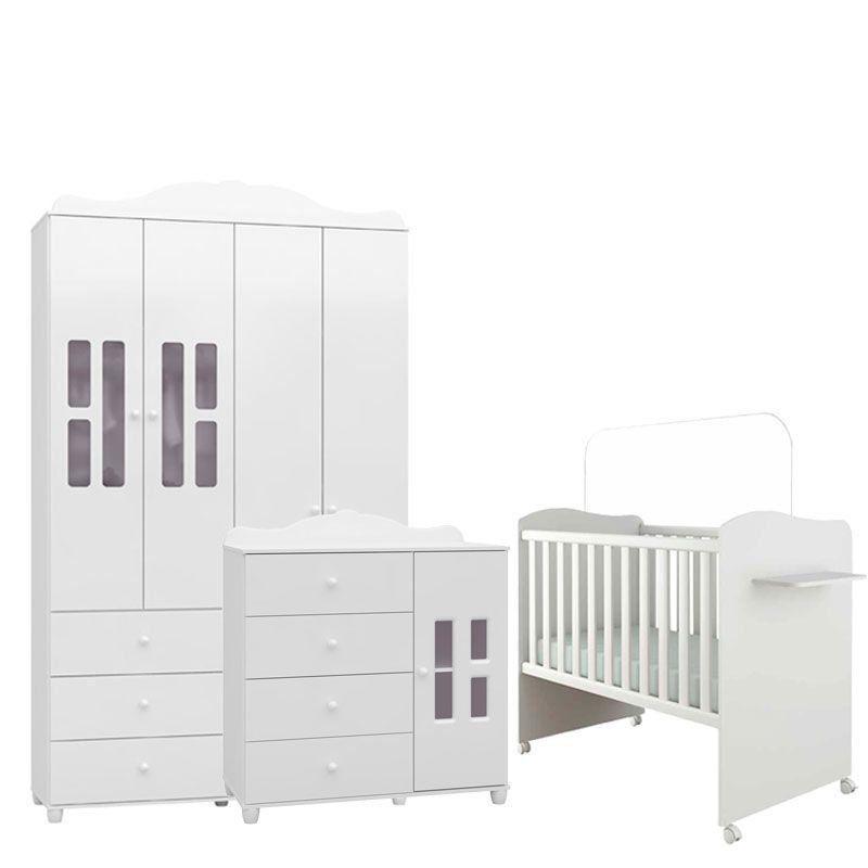 Quarto de Bebê Enzo 4 Porta Canaã Cor Branco Brilho