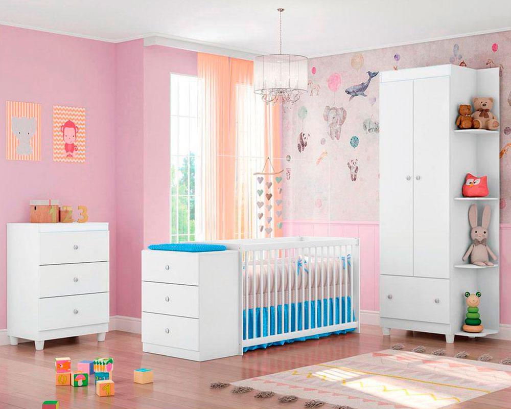 Quarto de Bebê Gutti com Berço Cômoda Móveis Estrela Branco