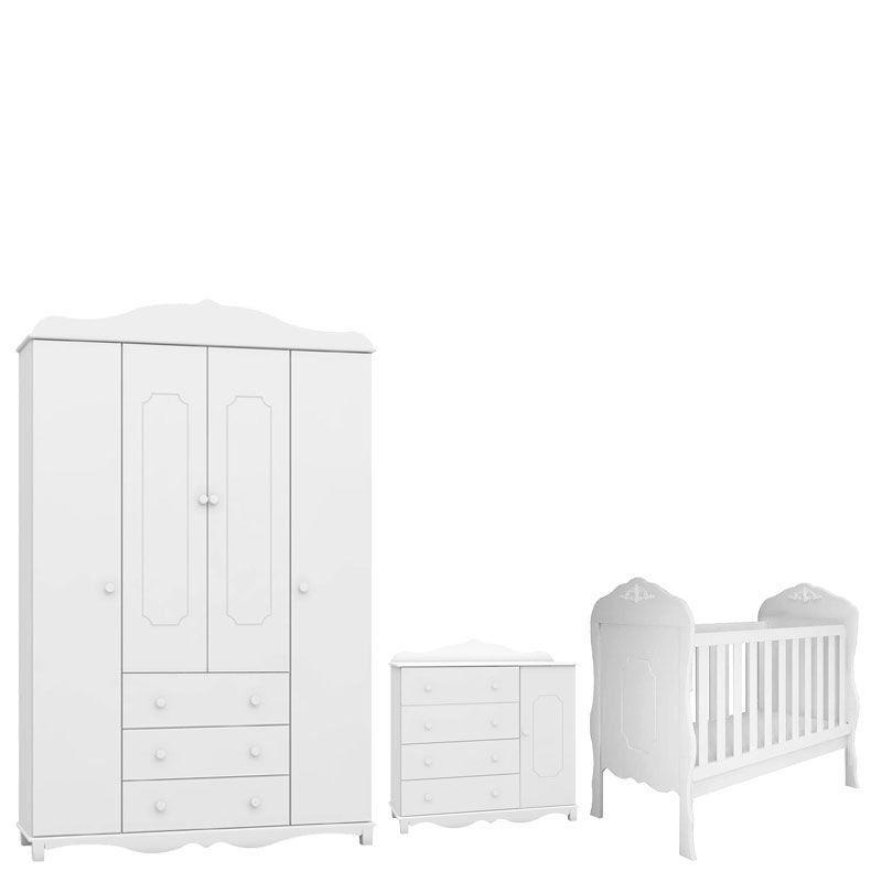 Quarto de Bebê Luiza 4 Portas Branca Acetinado - Canaa