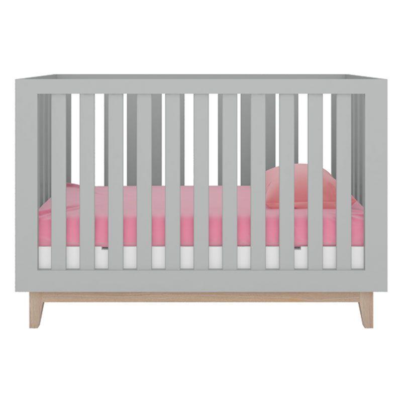 Quarto de Bebê Luna com Berço Smart Baby Fiorello Cor Branco Acetinado e Cinza