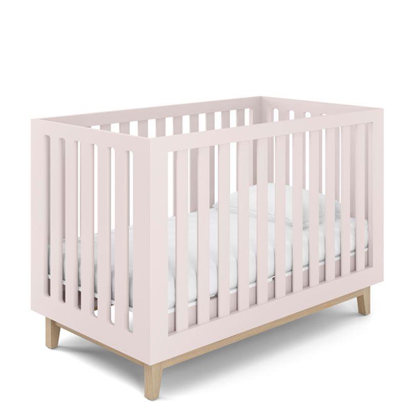 Quarto de Bebê Luna com Berço Smart Baby Fiorello Cor Branco Acetinado e Rose Quartz