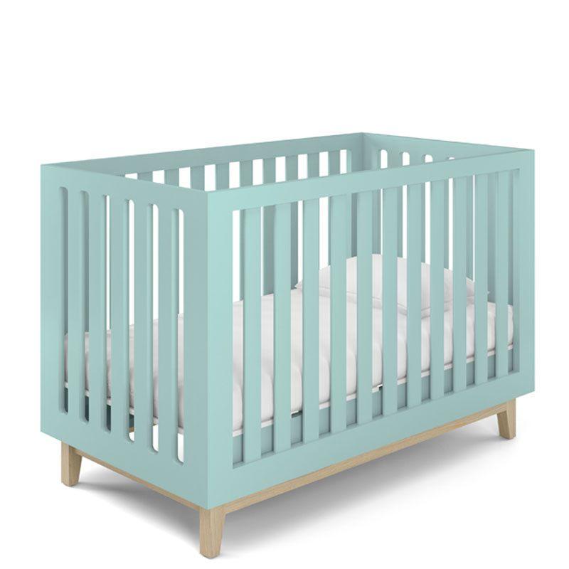 Quarto de Bebê Luna com Berço Smart Baby Fiorello Cor Branco Acetinado e Verde Menta