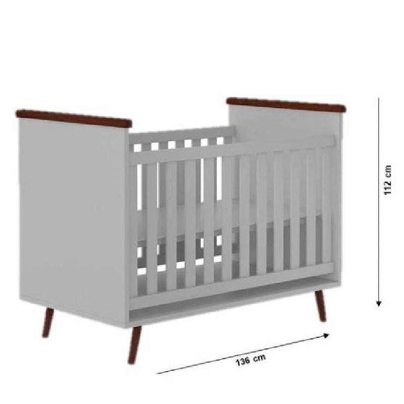Quarto de Bebê Melissa com Berço Baby Wood Phoenix Cor Cinza