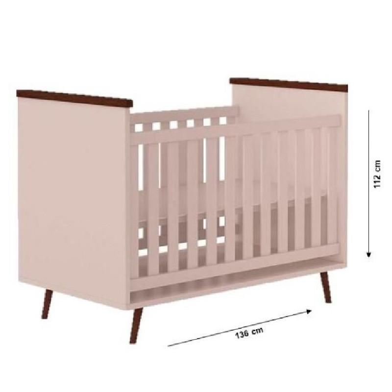 Quarto de Bebê Melissa com Berço Baby Wood Phoenix Cor Rosê