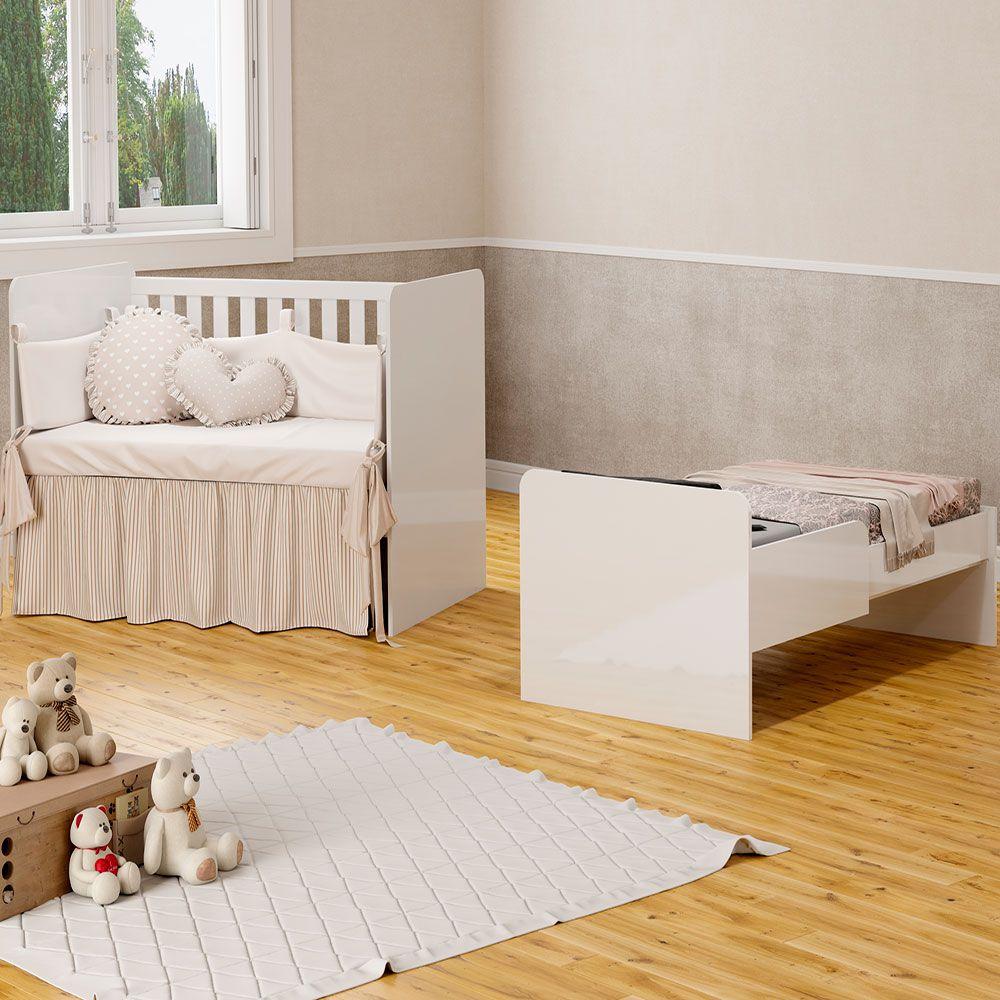 Quarto de Bebê My Baby com Berço Visione Fiorello Cor Branco Brilho
