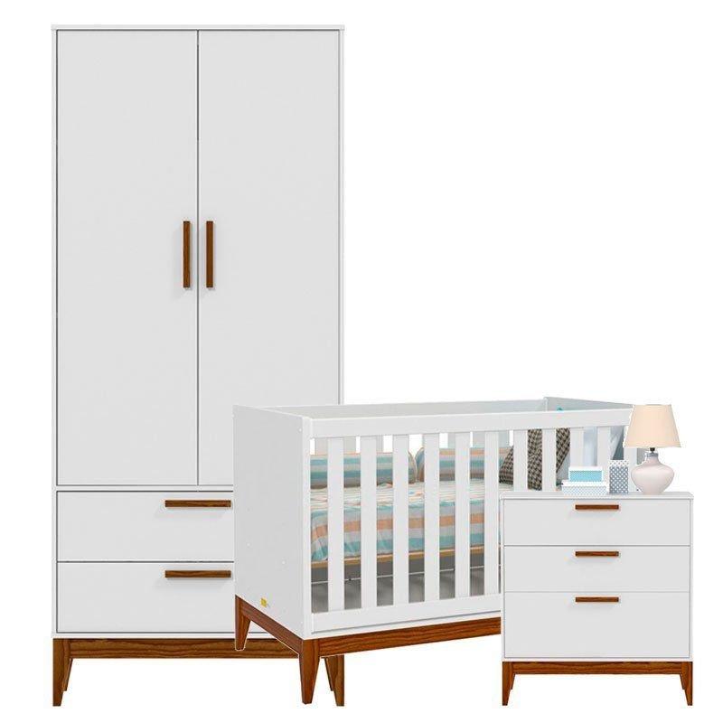 Quarto de Bebê Nature 2 Portas Matic Cor Branco Acetinado
