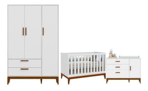 Quarto De Bebê Nature 3 Portas Matic Cor Branco Acetinado