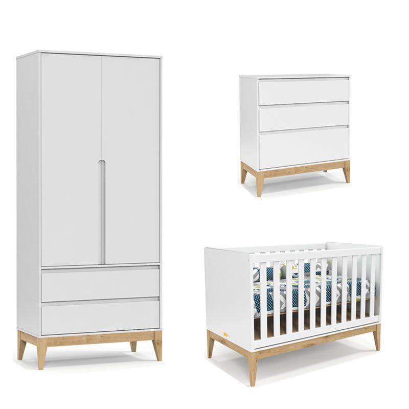Quarto de Bebê Nature Clean 2 Portas Matic Cor Branco Soft Natural
