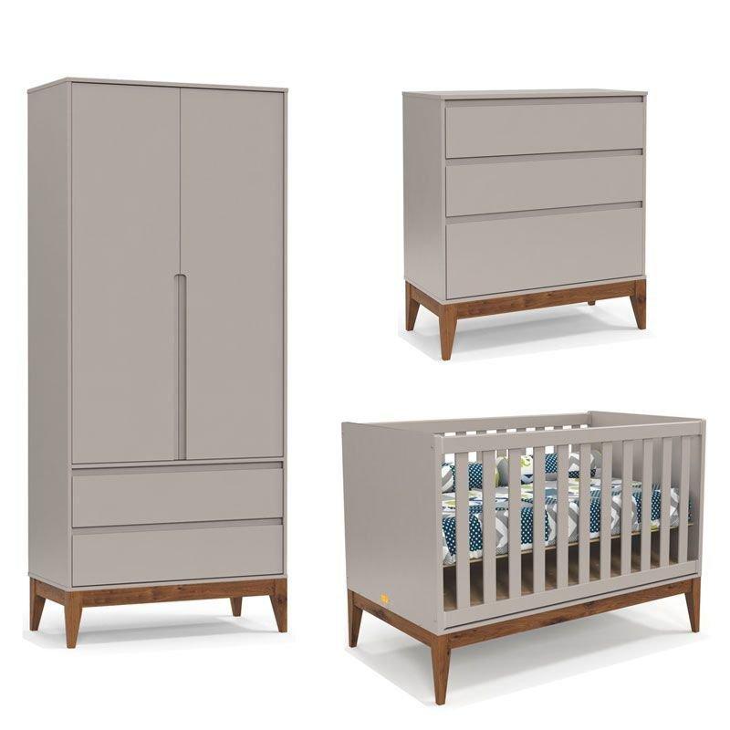 Quarto de Bebê Nature Clean 2 Portas Matic Cor Cinza Eco Wod